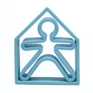 1 barn + 1 hus i silikon (ljusblå, Dëna)
