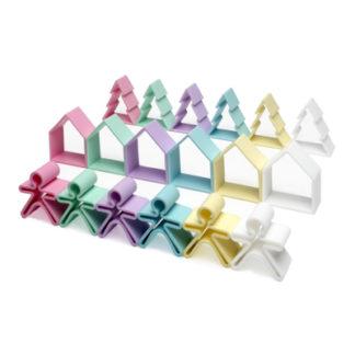 6 barn + 6 hus + 6 träd i silikon (pastellfärger, Dëna)